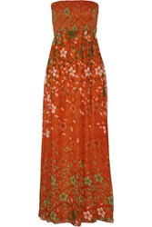 Diane Von Furstenberg Hannah Strapless Printed Silk Chiffon Maxi Dress Orange