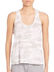 Monrow Neutral Camo Baseball Tank White