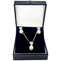 A B Davis Sterling Silver Pearl Pendant And Earrings Box Set Silver