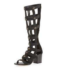Jimmy Choo Malini Embellished Suede Gladiator Sandal Black Mix