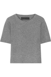 The Elder Statesman Ribbed Cashmere Top Anthracite