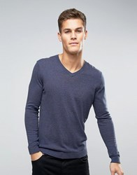 Asos V Neck Jumper In Navy Cotton Navy Grey Twist