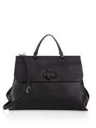 Gucci Bamboo Daily Leather Top Handle Bag Nero Black