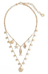 Lilly Pulitzer Sandy Coin Pendant Double Strand Necklace Gold Metallic