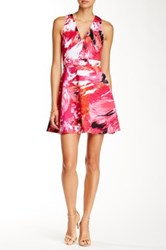 Necessary Objects Deep V Printed Scuba Fit N' Flare Dress Multi
