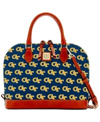 Dooney And Bourke Georgia Tech Yellow Jackets Zip Zip Satchel Navy
