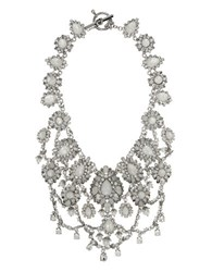 Marchesa Rhodium Opal And 6Mm 8Mm Simulated Faux Pearl Silver Plated Drama Collar Necklace