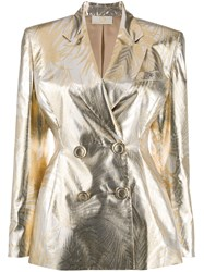 Sara Battaglia Metallic Double Breasted Blazer 60