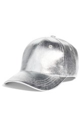Collection Xiix Crackled Metallic Baseball Cap Metallic Silver