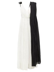 Vika Gazinskaya Draped Cotton Voile Maxi Dress Black White