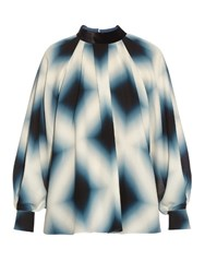 Fendi Neon Print Tie Neck Silk Georgette Blouse Blue Multi