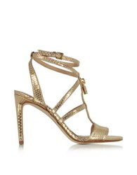 Michael Kors Antoinette Pale Gold Snake Printed Leather High Heel Sandals