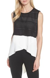 Ming Wang Mixed Media Tunic Top White Black