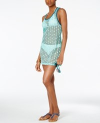 Miken Crochet Racerback Cover Up Women's Swimsuit Mint