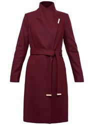 Ted Baker Fylio Long Wrap Coat Oxblood