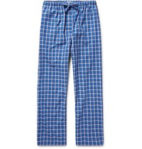 Derek Rose Ranga Checked Brushed Cotton Pyjama Trousers Blue