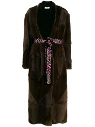 Attico Long Belted Coat Brown