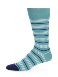 Paul Smith Variegated Stripe Dress Socks Aqua Navy