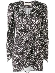 Nineminutes Patterned Wrap Dress Black