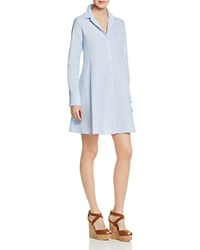Aqua Cotton Poplin Shirt Dress Blue