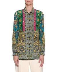 Etro Mixed Paisley Print Silk Shirt Brown Pink