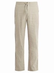 Onia Collin Drawstring Linen Trousers Brown