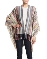 Magda Infinity Striped Shawl Ivory Figue