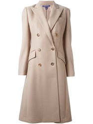 Ralph Lauren Double Breasted Coat Nude And Neutrals