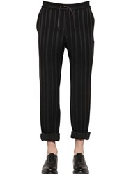 Bernardo Giusti Pinstriped Wool Blend Jersey Jogging Pan