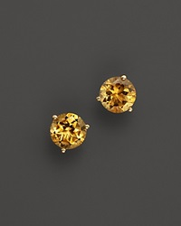 Bloomingdale's 14K Yellow Gold Citrine Round Stud Earrings Orange