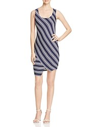 Red Haute Striped Bias Tank Dress Navy