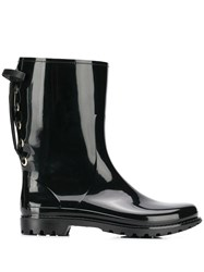 Red Valentino V Lace Up Rain Boots Black