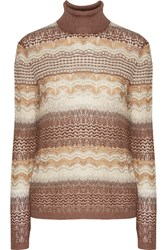 Missoni Crochet Knit Turtleneck Sweater Nude