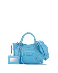 Balenciaga Classic Nickel City Mini Aj Bag Bright Blue