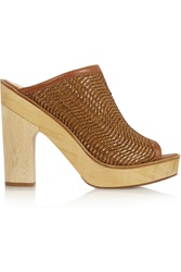 Pour La Victoire Sanya Woven Leather And Wood Mules