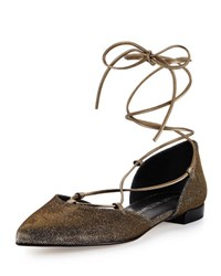 Stuart Weitzman Gilligan Lace Up D'orsay Flat Pytite Nocturnal Pyrite Nocturn