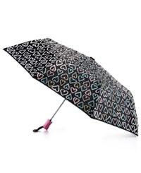 Celebrate Shop Water Reactive Heart Print Umbrella Only At Macy's Black