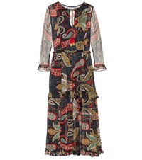 Velvet Glimmer Printed Crepe Midi Dress Multicoloured