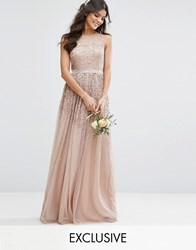 Amelia Rose Mesh Maxi Dress With Sequin Embellished Placement Brown