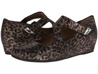 Anyi Lu Shirlee Leopard Shimmer Suede Women's Wedge Shoes Animal Print