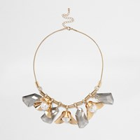 River Island Womens Gold Tone Flower Detail Statement Necklace