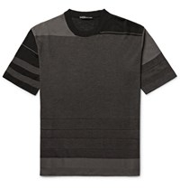 Issey Miyake Men Slim Fit Striped Birdseye Knit T Shirt Gray Green