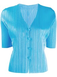 Issey Miyake Pleats Please By Short Sleeved Pleated Cardigan Blue