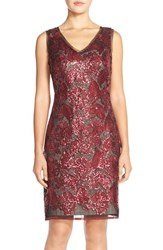 Women's Julia Jordan Embroidered Sequin Sheath Dress Marsala