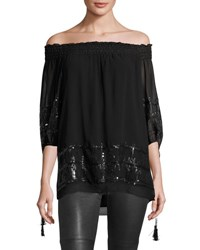 Max Studio Sequined Embellished Tunic Black