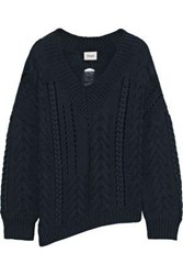 Charli Woman Distressed Cable Knit Cotton Sweater Navy