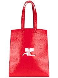 Courreges Logo Tote Bag Pvc Red