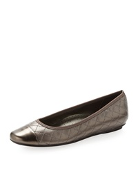 Neiman Marcus Saucy Quilted Leather Ballerina Flat Pewter