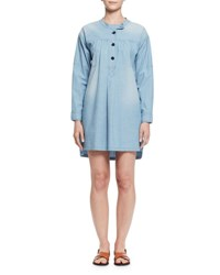 Etoile Isabel Marant Anise Long Sleeve Denim Shirtdress Light Blue