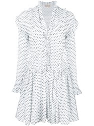 Azzedine Alaia Polka Dot Dress White